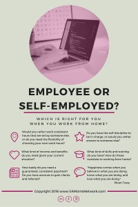 Should you be a work at home employee or self-employed? Here are the pros and cons of each.