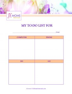 To-Do List Printable Pg 1 - Support for work at home moms - www.VAMomsNetwork.com